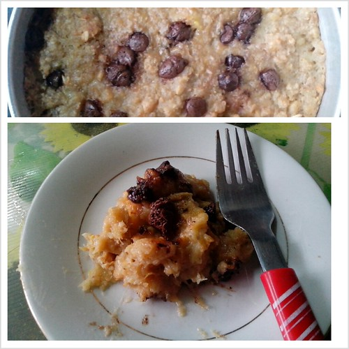 Baked Oatmeal and Plantain Bananas with Chocolate Chips