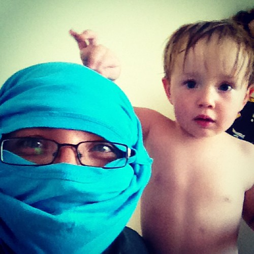 Mummy Ninja with Codie's pyjama top that he wouldn't let me put on.