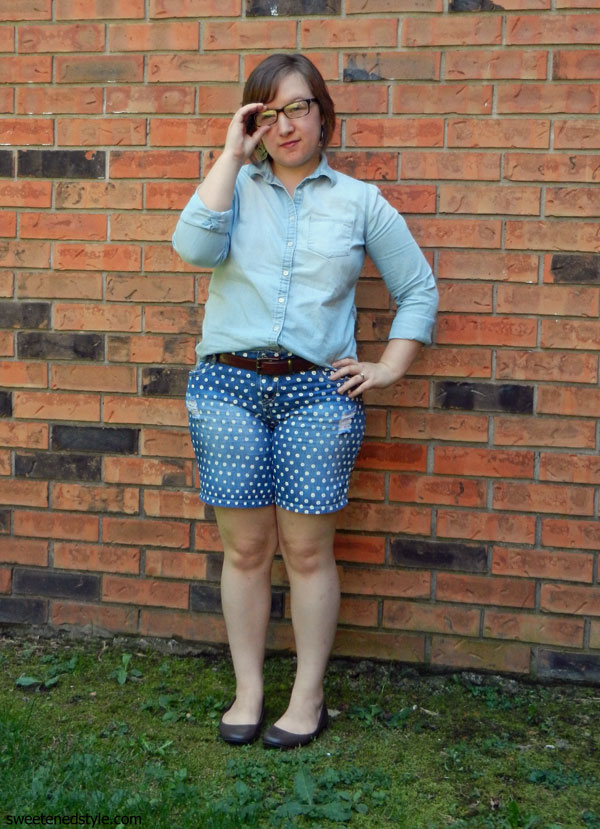 chambray, polka dot denim shorts