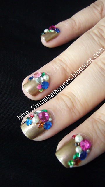 Libertine nail art gold gems jewels 2