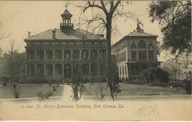 An historic photograph of St. Mary's Dominican Academy at Broadway and St. Charles