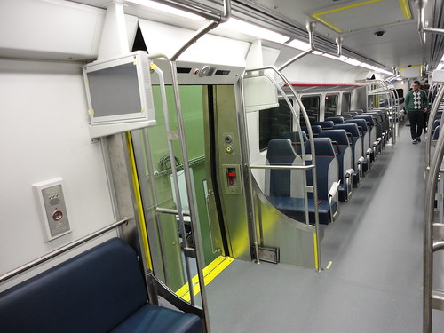 Photo of interior of the commuter rail car