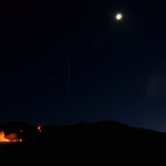 Orion, Vapour Trails, Moon and the Fire!