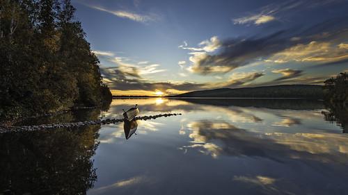 autumn sunset sky lake reflection fall water minnesota reflections landscape mirror boat north peaceful calm canoe mn bwca gunflinttrail boundarywaterscanoearea twoislandlake