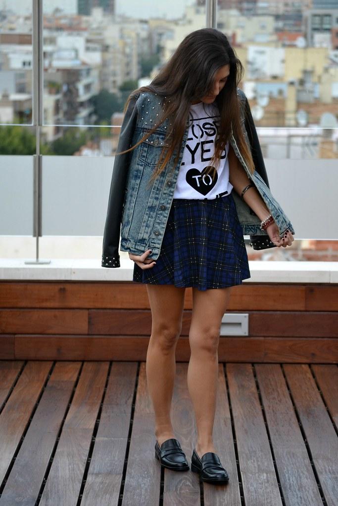 falda de cuadros azul  zara  7