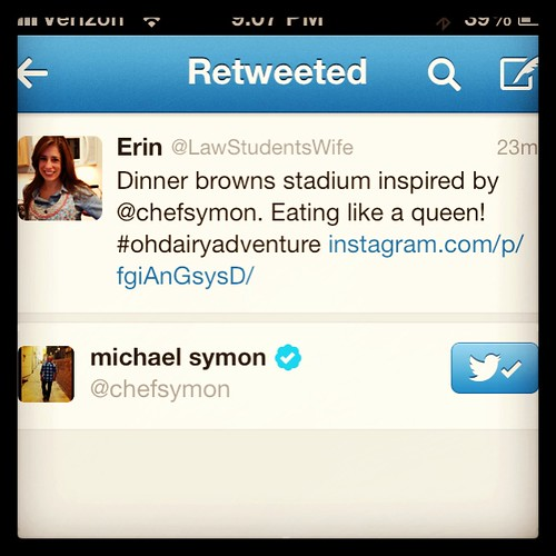 OH Dairy Adventure - Michael Symon Retweet - My life is complete