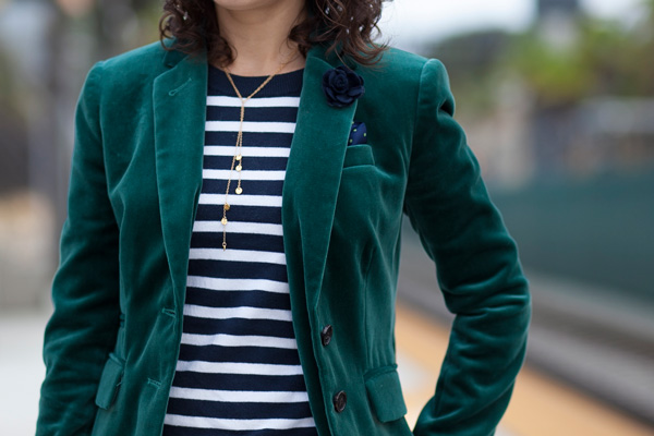 J.Crew green velvet blazer, navy stripe sweater