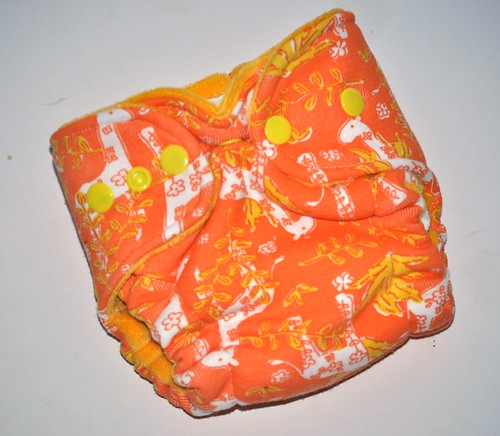 Bumstoppers Newborn Hybrid  Fitted HTF Orange Giraffes