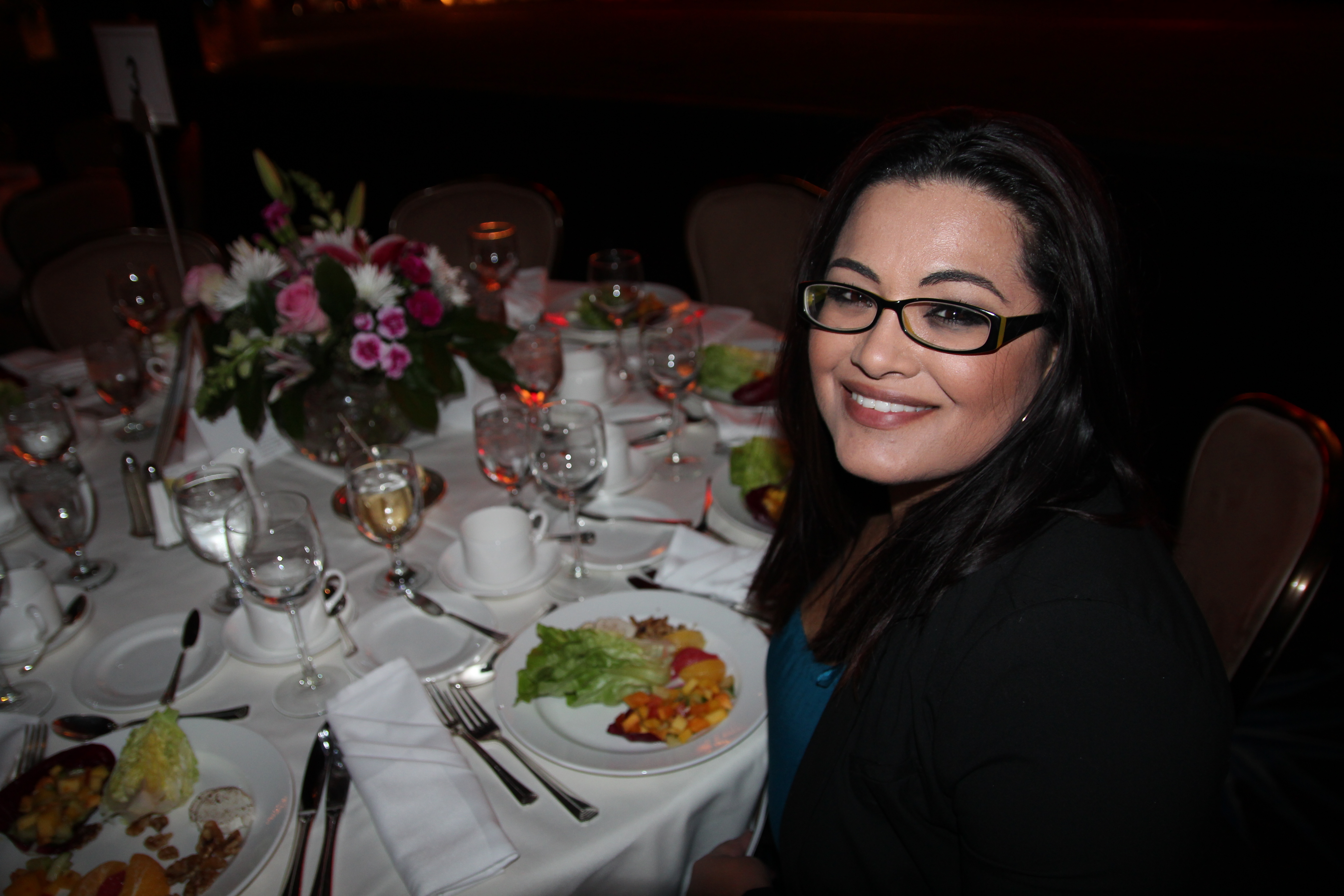 Krista from Elite TV News at LAFLA Awards Dinner.