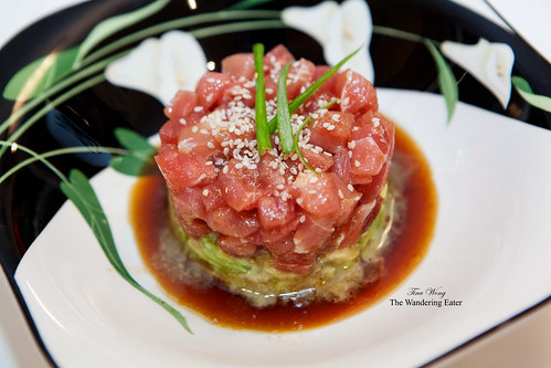 Avocado, ahi tuna tartare with sesame chili soy sauce