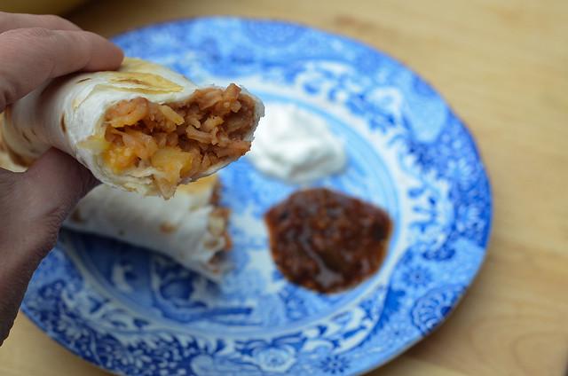 Cheesy Baked Bean and Rice Burritos