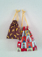Reversible Sock Monkey and Banana Drawstring Bag