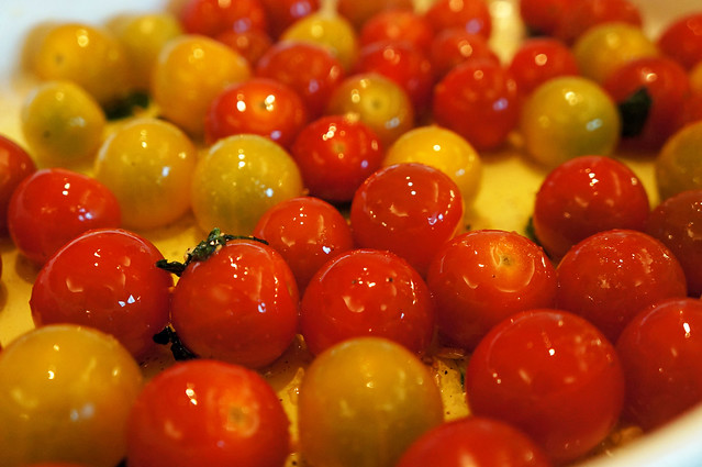cherry tomatoes and garlic oil