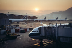 Sunrise at the Hong Kong International Airport