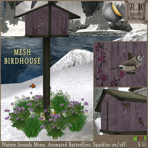 NEW ON SALE ! *RnB* Mesh Birdhouse - Pink (sounds & butterflies)