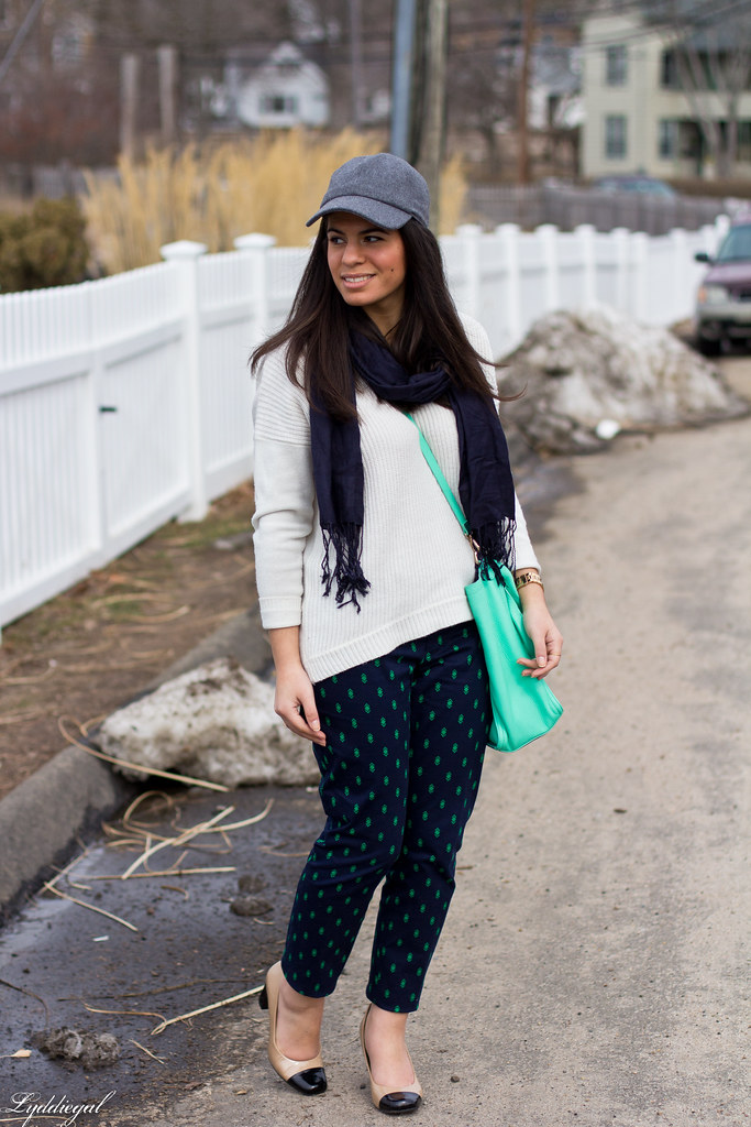printed pants, white sweater, baseball cap-1.jpg