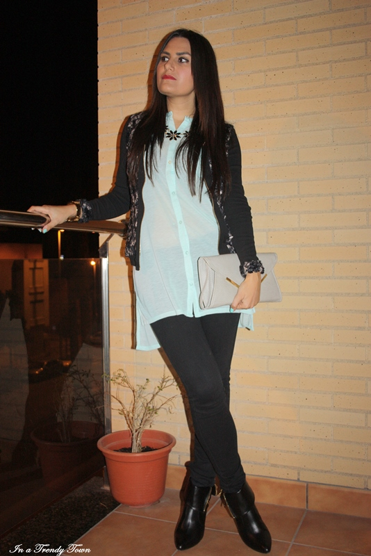 OUTFIT BLACK AND TURQUOISE 6
