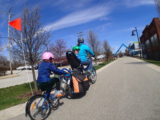 family cycling on Bloomington, Indiana's B-Line trail
