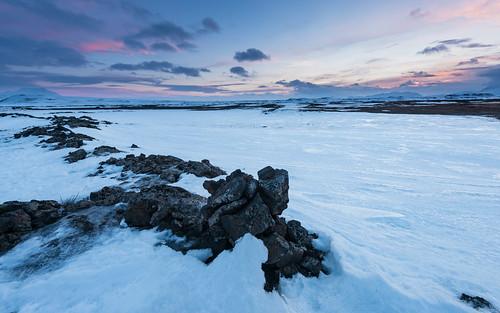 travel winter mountain snow nature rock stone sunrise season landscape dawn iceland twilight europe nordic northeast ísland halflight mývatn geothermalarea republicoficeland lakemývatn norðurlandeystra námafjallhverir lýðveldiðísland northeasternregion