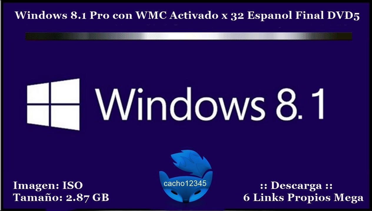 Windows 10 Pro Final Original Microsoft Vlsc: Windows 8.1 Pro Con WMC Activado X 32 Espanol