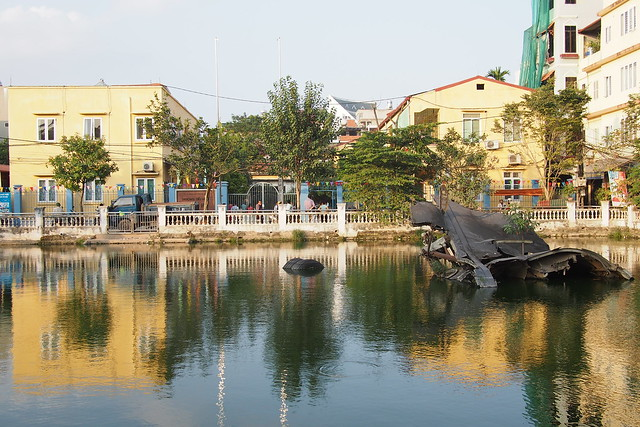 Huu Tiep Lake and the downed B-52. Hanoi, Vietnam