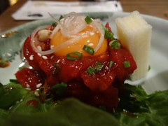 Korean Beef Tartar Steak with Raw Egg Yolk @Manzo,…