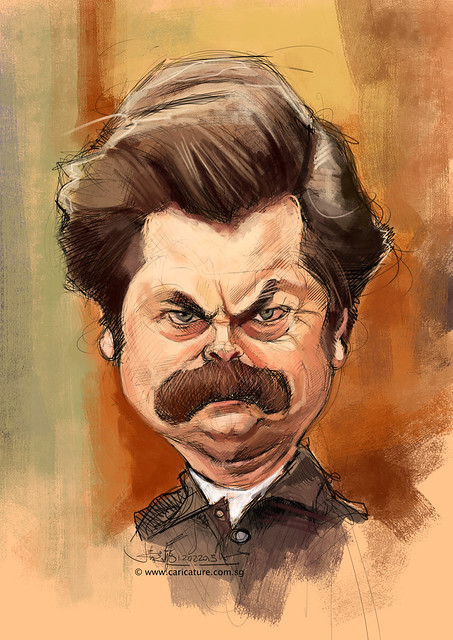 digital Nick Offerman caricature sketch - 2