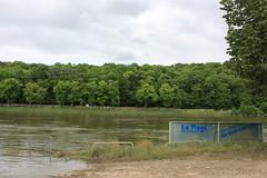 La plage fermée suite à la crue de la Seine de mai-juin 2016
