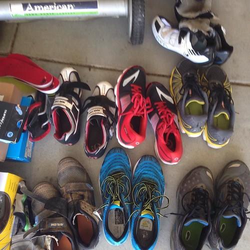 Garage cleanup in progress. Shoes shoes everywhere shoes. @brooksrunning @rideshimano @pearlizumiofficial @newbalance @mizunorunning