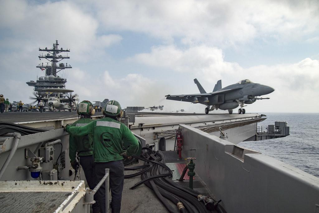 An F/A-18E Super Hornet launches from USS Dwight D. Eisenhower.