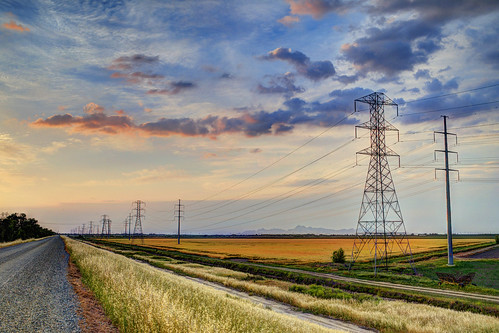 road trees sunset panorama field skyline river landscape countryside farming panoramic powerline 1855mm countryroad yubacity ricefiled butteslough nikond5100