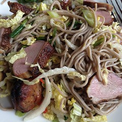 Soba noodle salad with smoked duck is a nice summery lunch option. #ladieswholark