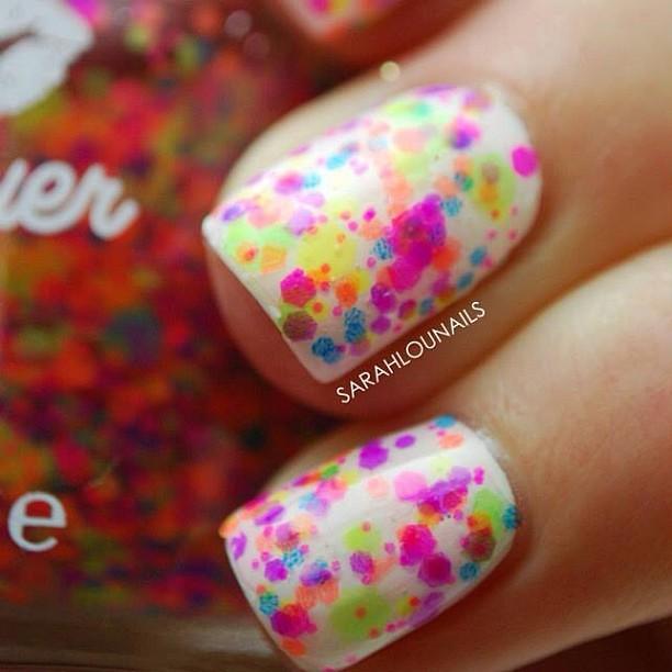 Neon Glitter Nails! @lushlacquer #nails #nailart #nailporn #nailpolish #nailstagram #notd #mani #manicure #zoya #lushlacquer #neon #white #glitter #summer #nofilter