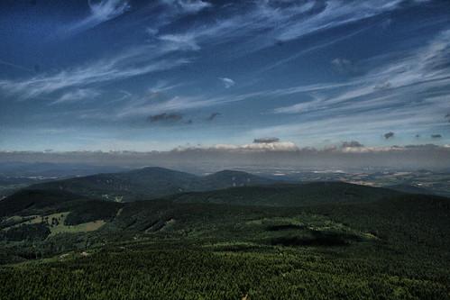 blue summer sky mountain green beautiful clouds landscape view czech
