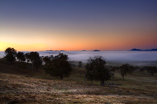 Low-lying fog over Canberra