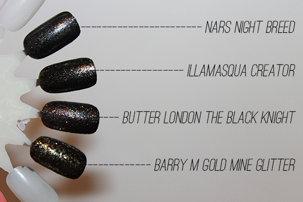 black glitter nail polishes
