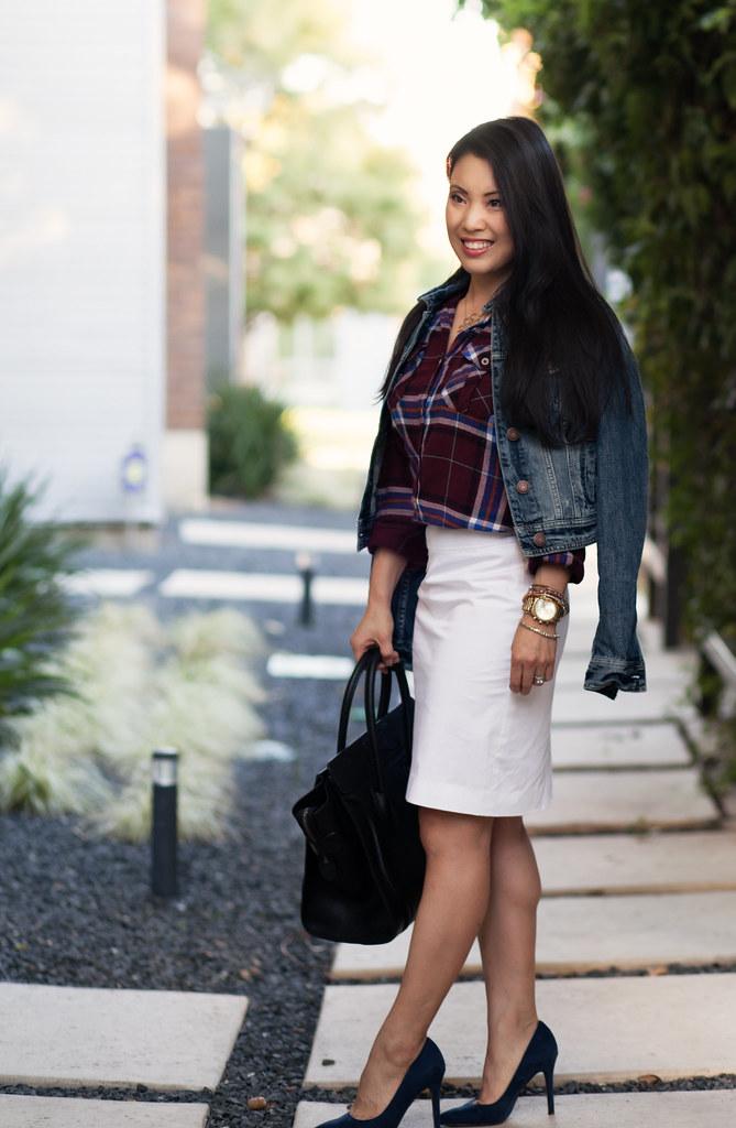cute & little blog   tartan plaid shirt, white pencil skirt, loft petra blue suede pumps, american eagle denim jacket outfit #ootd