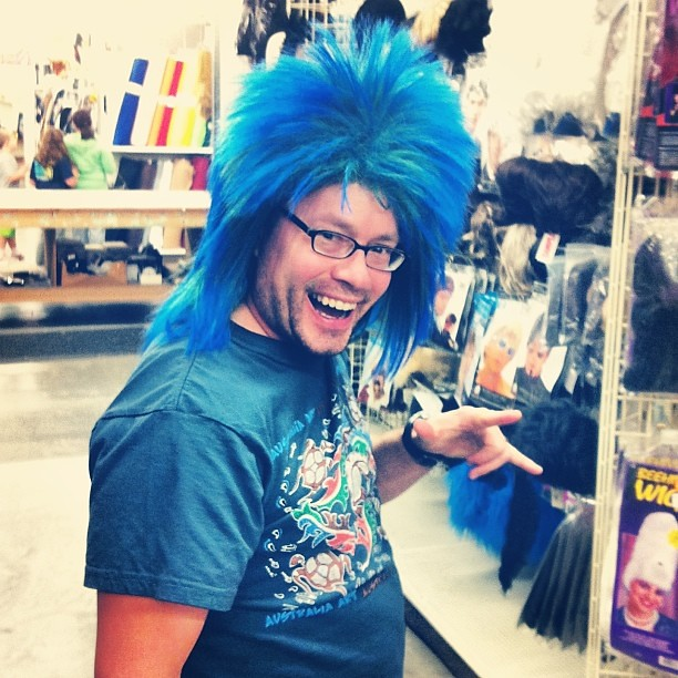 "Josh giving blue Mohawk realness at ""Display & Costume"" last night."