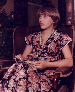 Me - aged about 19. Oh my god what was I thinking. I was wearing a flowery curtain!!