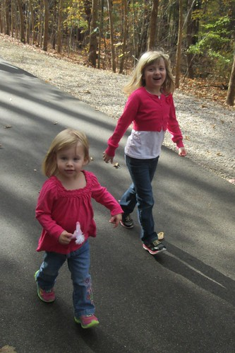 my girls walking in the park