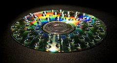 CD + water drops + LED light = color symphony