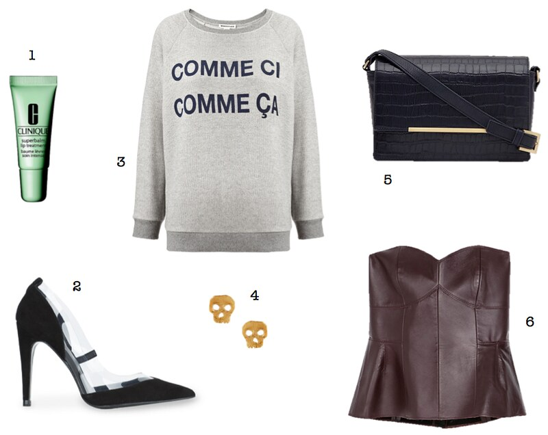 Whistles comme ci comme ca sweatshirt Zara leather peplum top Clinique superbalm lip treatment