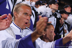 Drum Major Fritz Burgher (J14) ::  	   The Northwestern University 'Wildcat' Marching Band performs at Ryan Field as Northwestern Wildcat Football competes against Western Michigan University on September 14, 2013.  Photo by Daniel M. Reck (GSESP08).