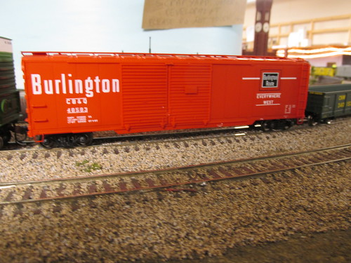 A Life Like Proto 2000 Series model of a 1960's era 50 foot double door automobile box car from the former Chicago, Burlington & Quincy Railroad. by Eddie from Chicago