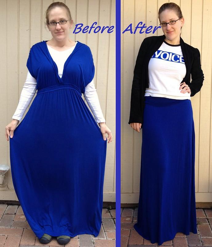 Cobalt Blue Maxi Skirt - Before & After