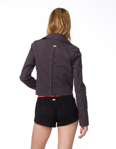 W - Back - Agnes Side Zip Crop Jacket - Black Haze