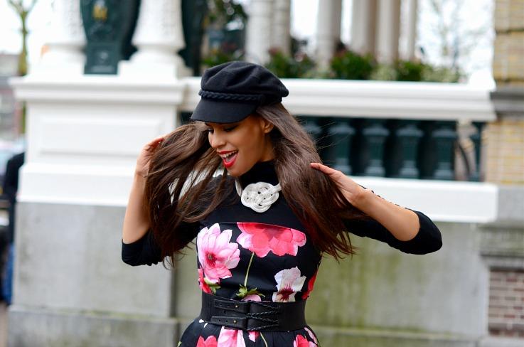 DSC_4228 Floral dress, H&M Fishermans hat