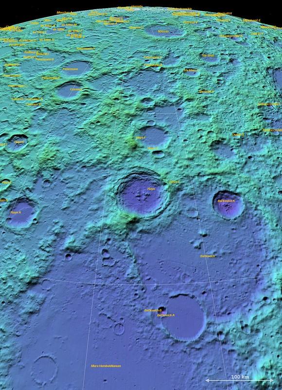 Hayn-Humboldtanium basin (LOLA ILIADS)