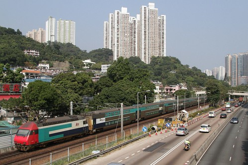 MTR operated 'KTT' double deck train outside Sha Tin