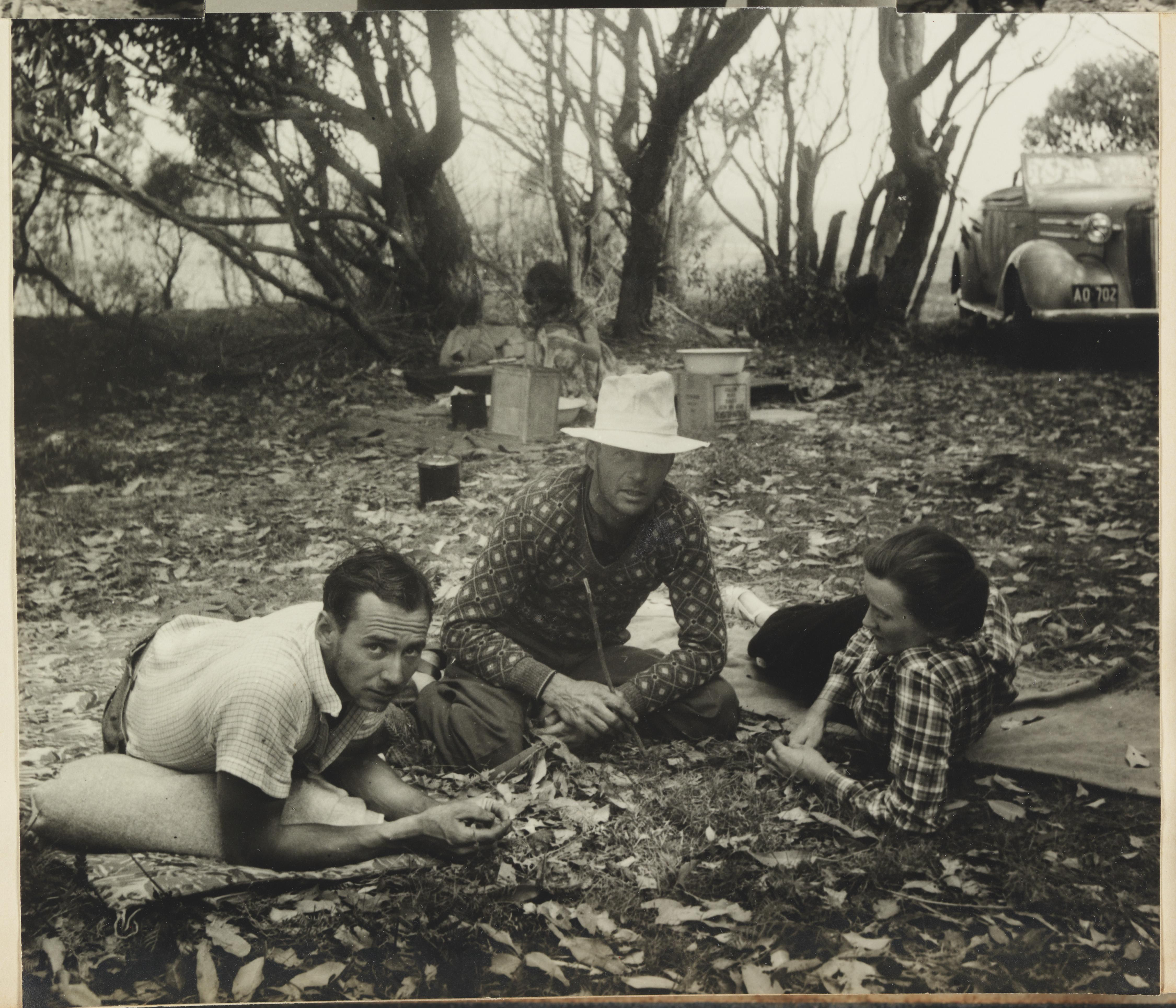 Max Dupain, Chris Vandyke (?) and unidentified woman by Olive Cotton from Camping trips on Culburra Beach by Max Dupain and Olive Cotton